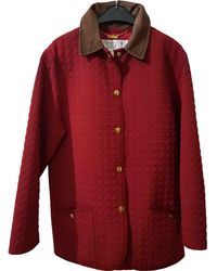 Dior - Burgundy Polyester Coat - Lyst