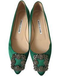 Manolo Blahnik Hangisi Cloth Flats - Green