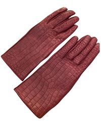 Burberry Leather Gloves - Red