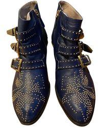 Chloé Susanna Blue Leather Ankle Boots