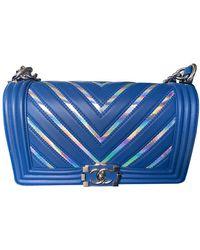 Chanel Boy Blue Leather Handbag