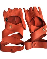 Chanel Leder Halbfingerhandschuhe - Rot