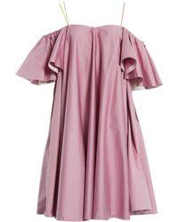 1de845b84225 Anna October One Shoulder Mini Shirt Dress in Blue - Lyst