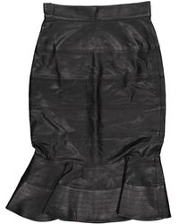 Oscar de la Renta Black Leather Skirt