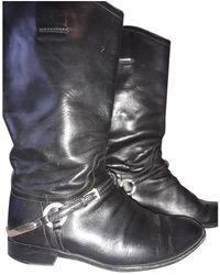 Dior Bottes en Cuir Noir