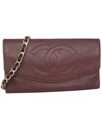 Chanel Bolsa de mano en cuero marrón