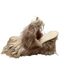 Maison Margiela Faux Fur Mules & Clogs - Grey