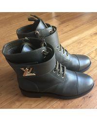Louis Vuitton Wonderland Khaki Leather Ankle Boots - Natural