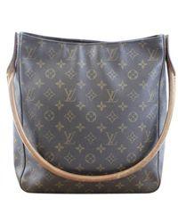 Louis Vuitton Borsa a mano in tela marrone Looping