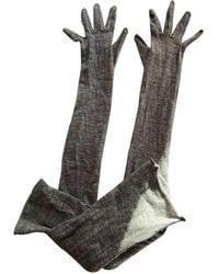 Bottega Veneta Grey Cashmere Gloves - Green