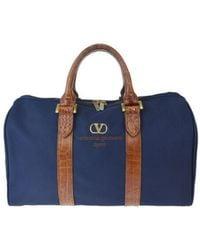 Valentino Vintage Navy Cloth Travel Bag - Blue