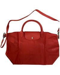 Longchamp - Pliage Red Leather Handbag - Lyst
