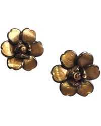 Chanel - Pre-owned Vintage Camélia Brown Glass Earrings - Lyst