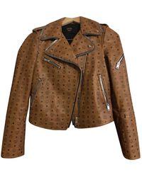 MCM Leather Biker Jacket - Brown