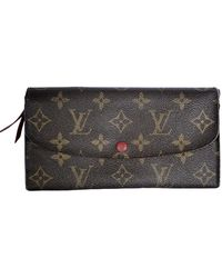 Louis Vuitton Emilie Leinen Portemonnaies - Braun