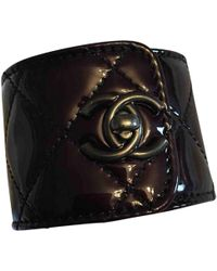 Chanel - Burgundy Patent Leather Bracelets - Lyst