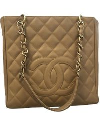 cb8302bb157666 Chanel Petite Shopping Tote Cloth Tote in Blue - Lyst