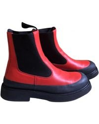 Celine Country Boots Leder Stiefeletten - Rot