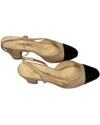 Chanel Scarpe con tacco in pelle beige Slingback - Neutro