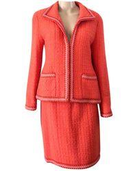 Chanel Wool Skirt Suit - Orange
