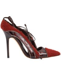 Manolo Blahnik - Red Cloth Heels - Lyst