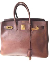 db7c88eaf070 Hermès - Pre-owned Vintage Birkin 35 Brown Leather Handbag - Lyst