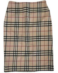 Burberry Wool Mid-length Skirt - Natural