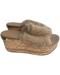 Chloé Shearling Sandal - Natural