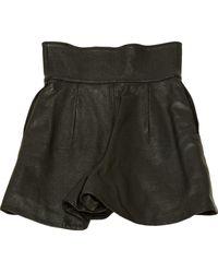 Dior Black Leather Shorts
