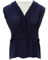 Chanel - \n Navy Silk Top - Lyst
