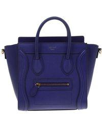 Céline Nano luggage Blue Leather Handbag