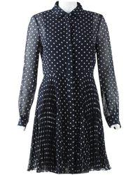 Dior Robe en Soie Marine - Bleu