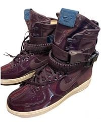 Nike Sf Air Force 1 Leather High Trainers - Purple