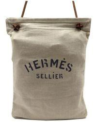 Hermès Sac à main Aline en Toile Beige - Neutre