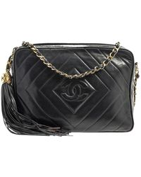 Chanel Camera Black Leather Handbag