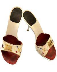 Louis Vuitton White Cloth Sandals