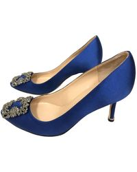 Manolo Blahnik Hangisi Cloth Heels - Blue