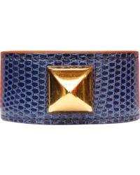 Hermès - Médor Blue Lizard Bracelets - Lyst