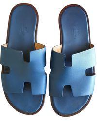 Hermès Izmir Leder Sandalen - Blau