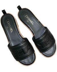 Chanel Sandales en Cuir Noir