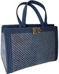 33e9db4a9bce Chanel - Pre-owned Boy Tote Blue Denim - Jeans Handbags - Lyst