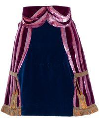 Olympia Le-Tan Jupe en Velours Violet - Multicolore