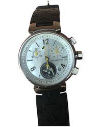 Louis Vuitton Orologio in acciaio bianco Tambour Chronographe