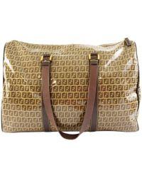 Fendi Brown Cloth Travel Bag
