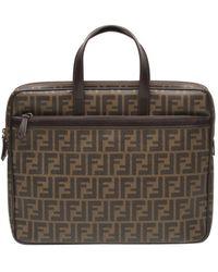 Fendi Roll Bag Leinen Shopper - Braun