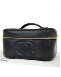 Chanel Vintage Black Leather Travel Bag