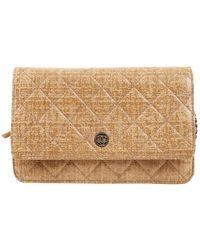 Chanel Bolsa clutch en lona beige Wallet on Chain - Neutro