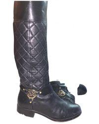 Michael Kors Leather Riding Boots - Black