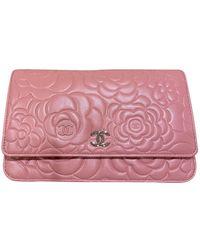 Chanel Bolsa de mano en cuero rosa Wallet on Chain