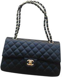 Chanel Sac à main Timeless/Classique en Soie Noir